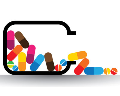 pills spilling from bottle icon