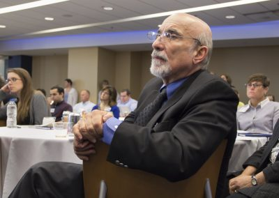 Dr. Ron Maio, pioneer in injury prevention research at U-M, at U-M Injury Center Sport Concussion Summit, 9/24/15
