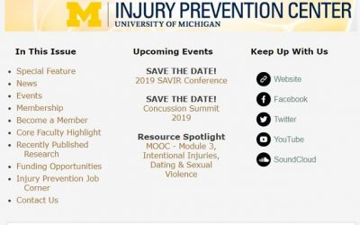 U-M Injury Prevention Center Newsletter January 2019