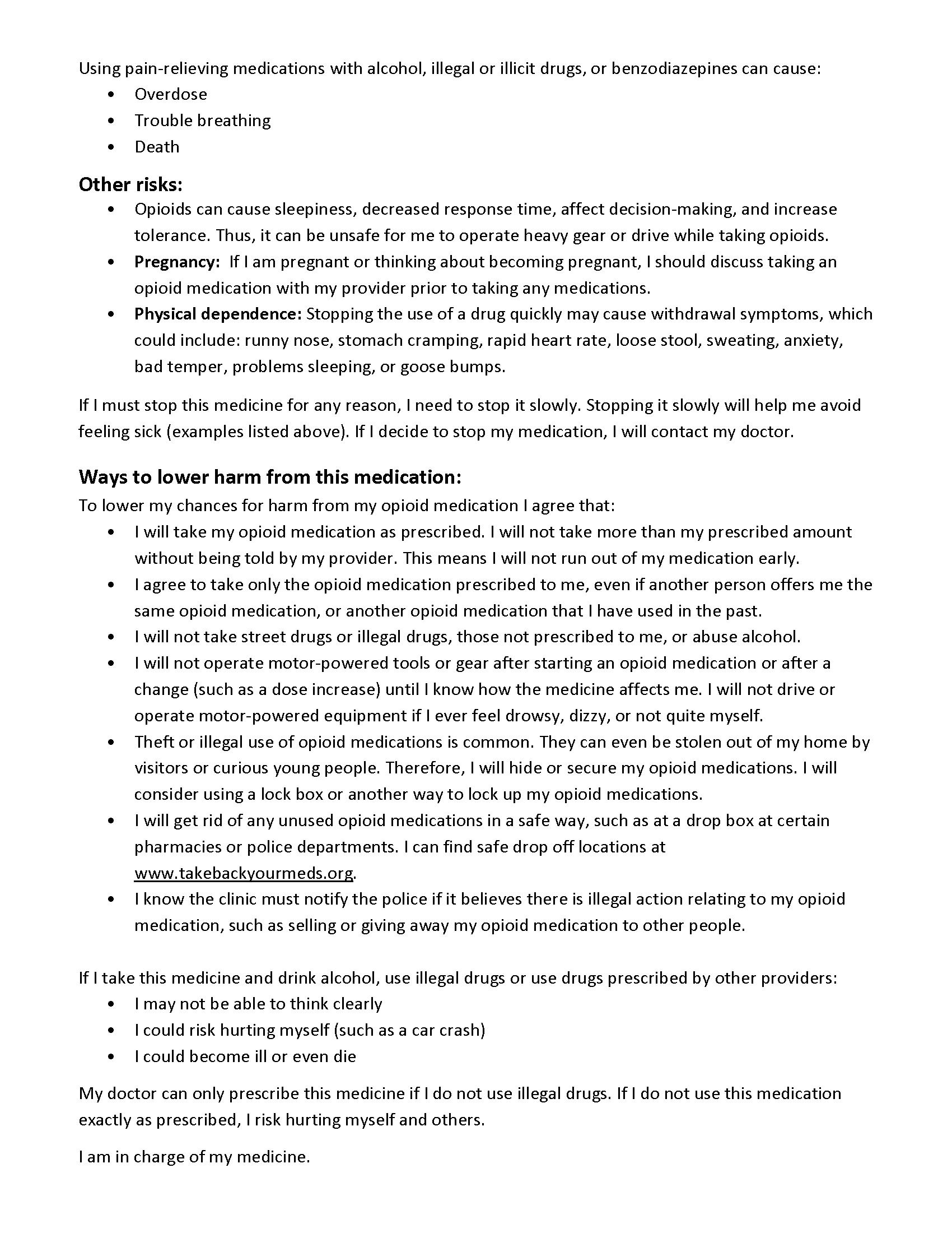Sample Pain Management Agreements | U-M Injury Center
