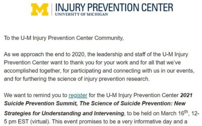 U-M Injury Prevention Center Holiday Greeting December 2020